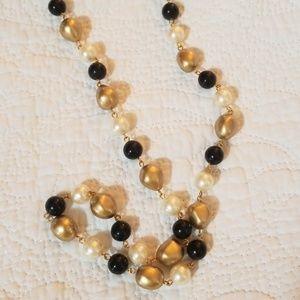 Vintage NOS Gold Black Pearl Bead Necklace